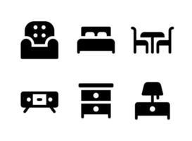 ensemble simple d'icônes solides vectorielles liées aux meubles vecteur