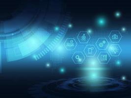 fond abstrait technologie futuriste bleu avec icône de l & # 39; entreprise vecteur