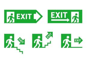 signes de direction lors de l'évacuation. sortie de secours. homme qui court à la porte. illustration de jeu de vecteur plat