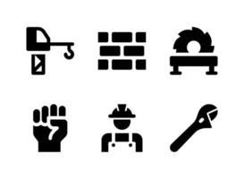ensemble simple d'icônes solides vectorielles liées à la construction