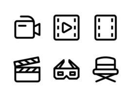 ensemble simple d'icônes de ligne vectorielle liées au divertissement vecteur