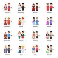 avatars de couple portant des robes culturelles à travers le monde vecteur