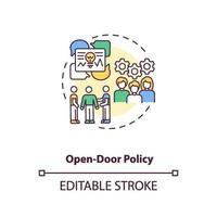 icône de concept de politique de porte ouverte vecteur