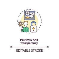 icône de concept de positivité et de transparence vecteur
