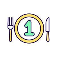 icône de couleur rgb premier repas vecteur