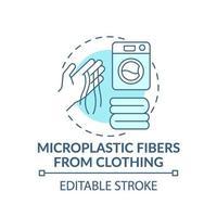 fibres microplastiques de l'icône de concept de vêtements vecteur