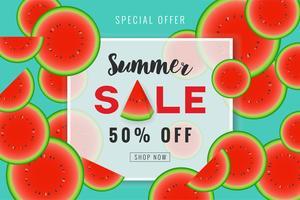 Design de fond bannière promotion vente d'été avec tranche d'eau