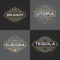 Design de cadre de ligne vintage pour étiquettes, bannière, logo, emblème, appa vecteur