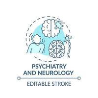 Icône de concept bleu psychiatrie et neurologie vecteur