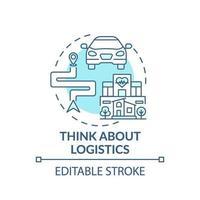 Pensez à l'icône du concept bleu logistique vecteur