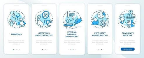 Composants de médecine familiale écran de la page de l'application mobile d'intégration bleue avec concepts vecteur