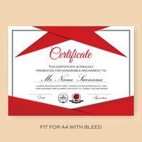 Modèle de fond de certificat vérifié moderne avec la couleur rouge S
