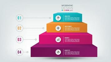 Modèle d'infographie de flux de travail en 4 étapes. vecteur