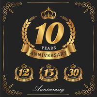 Logo décoratif anniversaire 10 ans. vecteur décoratif illustra