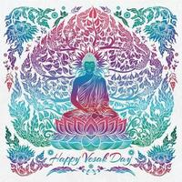 bonne journée de vesak avec bouddha et arbre bodhi vecteur