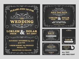 Ensembles de conception d'invitations de mariage tableau Vintage