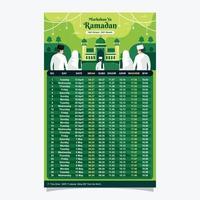 modèle de calendrier d'ornement islamique vecteur
