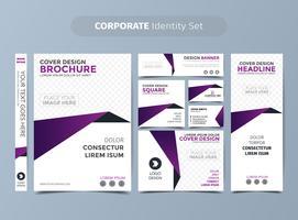 Ensemble d'identité d'entreprise violet vecteur