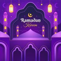 conception de ramadan kareem violet vecteur