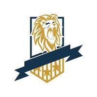 illustration de conception étoile bouclier tête de lion isolée vecteur