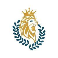 tête de lion couronne feuille conception symbole illustration isolé vecteur