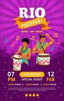 concept d'affiche de groupe de percussions du festival de rio vecteur
