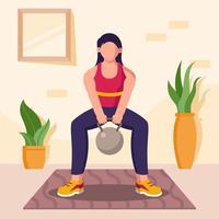 gym à la maison concept vecteur