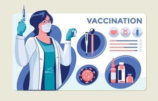 Éléments infographiques du concept de vaccination vecteur