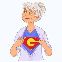 ma grand-mère est ma super-héroïne vecteur