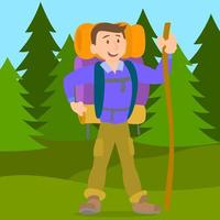 randonnée homme avec sac à dos marche en plein air vecteur