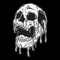 illustration vectorielle de crâne dégoulinant sur fond noir vecteur