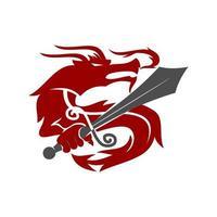 vecteur de modèle de mascotte de conception épée de dragon isolé