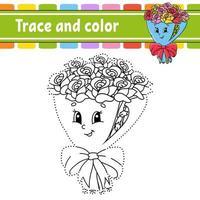 trace et couleur. coloriage pour les enfants. pratique de l'écriture manuscrite. feuille de travail sur le développement de l'éducation. page d'activité. jeu pour les tout-petits. illustration vectorielle isolé. style de bande dessinée.