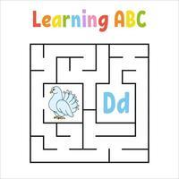 labyrinthe carré. jeu pour les enfants. labyrinthe quadrate. feuille de travail de l'éducation. page d'activité. apprendre l'alphabet anglais. style de bande dessinée. trouver le bon chemin. illustration vectorielle de couleur.