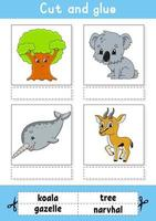 couper et coller. jeu pour les enfants. apprendre des mots anglais. feuille de travail sur le développement de l'éducation. page d'activité couleur. personnage de dessin animé. vecteur