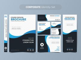 Set d'identité d'entreprise bleu foncé vecteur