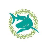 illustration de vecteur de conception de rotation des feuilles de requin isolé