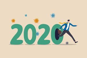 année 2020 année de crash économique en raison d'une épidémie de coronavirus provoquant la faillite d'une entreprise ou année du concept de pandémie de covid-19, homme d'affaires fuyant le numéro 2020 avec un agent pathogène du coronavirus. vecteur