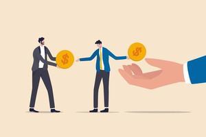 chèque de paie vivant au chèque de paie, problème financier, obtenir un revenu mensuel pour payer la dette et le prêt ou le concept de dépenses mensuelles, un homme d'affaires épuisé, un homme de salaire, obtient une pièce d'un dollar et la paie pour la dette des créanciers. vecteur