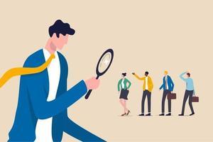 recherche du meilleur candidat ou du meilleur emploi, ressources humaines, recherche de tête, choix des talents pour un poste vacant ou concept de recrutement d'entreprise, patron d'employeur ou RH utiliser une loupe pour choisir les candidats à l'entretien d'embauche vecteur