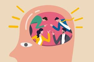 Les gens font un remue-méninges pour une grande idée et une solution commerciale, un travail d'équipe ou une collaboration discutent du concept de pensée créative, des gens de bureau d'affaires remue-méninges dans le cerveau humain avec un effet lumineux d'ampoule. vecteur