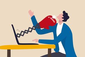 cyberintimidation, harcèlement en ligne utilisant les médias sociaux contre des personnes menacées, violence utilisant le concept de moyens électroniques, homme triste utilisant les médias sociaux et étant frappé par des gants de boxe à partir d'un ordinateur portable. vecteur