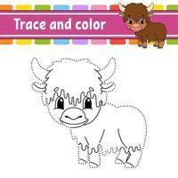 yak de jeu point à point. tracer une ligne. pour les enfants. feuille de travail d'activité. livre de coloriage. avec réponse. personnage de dessin animé. illustration vectorielle.