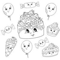 livre de coloriage pour les enfants. thème de joyeux anniversaire. personnages joyeux. illustration vectorielle. style de dessin animé mignon. silhouette de contour noir. isolé sur fond blanc.
