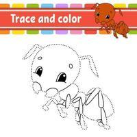 fourmi de jeu point à point. tracer une ligne. pour les enfants. feuille de travail d'activité. livre de coloriage. avec réponse. personnage de dessin animé. illustration vectorielle.