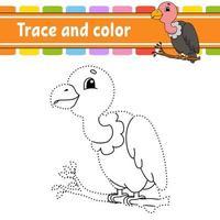 vautour gibier point à point. tracer une ligne. pour les enfants. feuille de travail d'activité. livre de coloriage. avec réponse. personnage de dessin animé. illustration vectorielle.