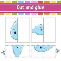 couper et jouer. jeu de papier avec de la colle. cartes flash. feuille de travail de l'éducation. page d'activité. personnage drôle. illustration vectorielle isolé. style de bande dessinée.