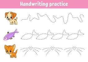pactice d'écriture. feuille de travail sur le développement de l'éducation. page d'activité. jeu de couleurs pour enfants. illustration vectorielle isolé. personnage de dessin animé.