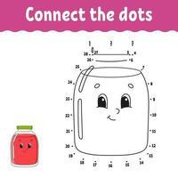 jeu de point à point. tracer une ligne. pour les enfants. feuille de travail d'activité. livre de coloriage. avec réponse. personnage de dessin animé. illustration vectorielle.
