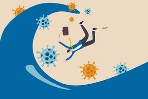 les vagues de pandémie de coronavirus ont frappé l'économie mondiale, provoquant l'effondrement de l'entreprise et des entreprises et le concept de faillite, le propriétaire d'une entreprise d'homme d'affaires tombe dans une grande vague océanique avec un pathogène coronavirus covid-19. vecteur